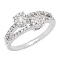 Bague Love parée de diamants sur or blanc 10 ct