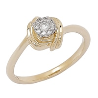 Bague Love à nœud orné de diamants sur or jaune 10 ct
