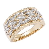 14K Gold Diamond Bypass Swirl Ring