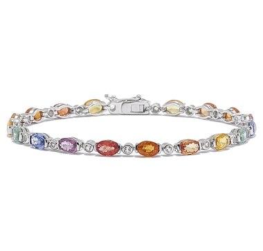 Sterling Silver Multi-Sapphire & White Topaz Bracelet