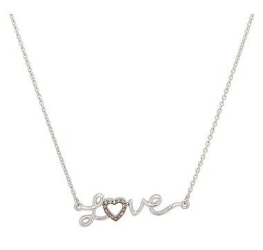 Clarity Diamonds Sterling Silver Sunset Diamond Love Necklace