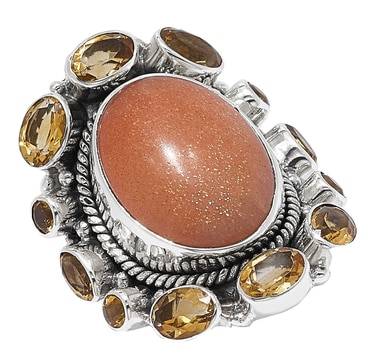 Himalayan Gems Sterling Silver Sunstone & Citrine Ring