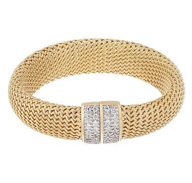 Toscana Diamonelle Sterling Silver 14K Yellow Gold Plate Bracelet