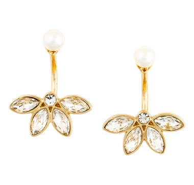 GLAMOUR Pearl Centre Floral Drop Earrings