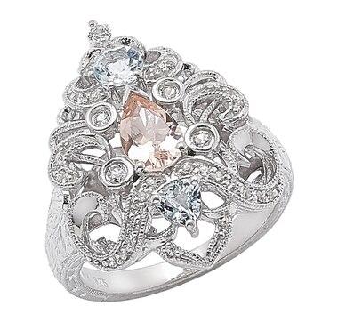 Generations 1912 Sterling Silver Morganite, Aquamarine & White Sapphire Ring