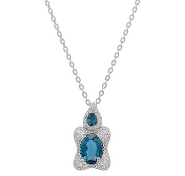 """Generations 1912 Sterling Silver London Blue Topaz & White Sapphire Pendant with 18"""" Chain"""