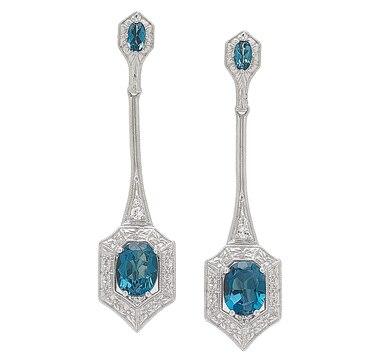 Generations 1912 Sterling Silver London Blue Topaz & White Sapphire Earrings
