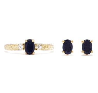 Sigal Style Sterling Silver Gemstone Earrings & Ring Set