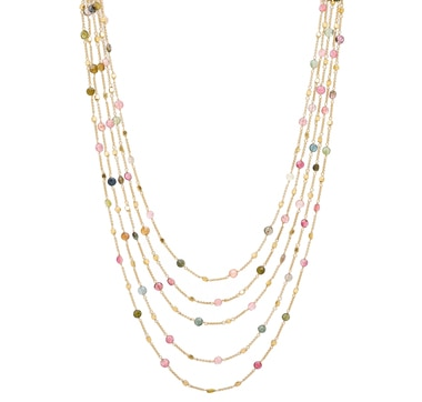 Piara Sterling Silver 18K Yellow Gold Plate Multi Tourmaline Necklace
