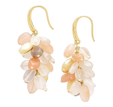 Piara Collection Brass 18K Yellow Gold Plate Multi-Colour Moonstone Earrings