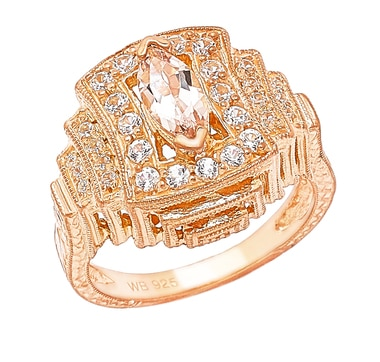 Generations 1912 Sterling Silver Rose Gold Plate Morganite Ring