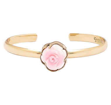 Alchemía by Charles Albert Pink Rose Mother of Pearl Mini Cuff