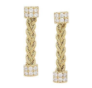 Diamonelle 10K Yellow Gold Drop Earrings