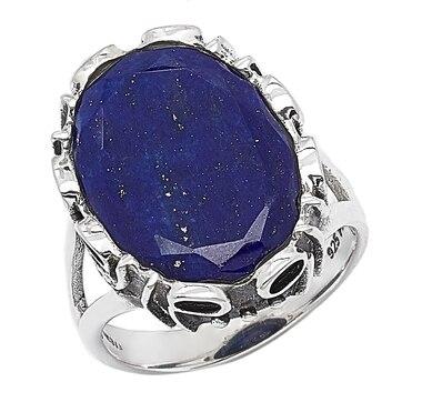Bague parée d'un lapis-lazuli sur argent sterling de Himalayan Gems