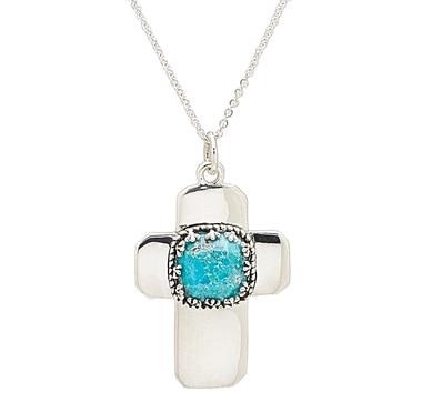 Barse Studio Sterling Silver Artisanal Turquoise Cross Pendant & Chain