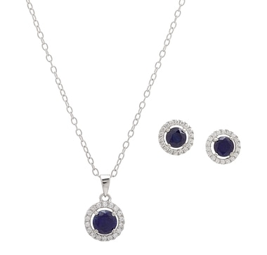 Sigal Style Sterling Silver Rhodium Plated Creates Sapphire Earrings & Pendant with Chain Set