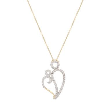 Chaîne et pendentif représentant une mère et son enfant, orné de diamants sur or 10 ct