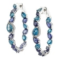 Dallas Prince Sterling Silver London Blue Topaz & Iolite Hoop Earrings