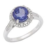 Bague sertie d'une tanzanite et pavée de diamants sur or blanc de 14 ct de GEM finds