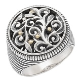Samuel B. Sterling Silver & 18K Yellow Balinese Design Ring