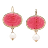 Vicenza Gold by Tagliamonte 14K Yellow Gold Etrusca Cameo & Freshwater Pearl Earrings