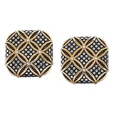 Emma Skye Stainless Steel Two Tone Caviar Lattice Earrings