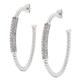 Emma Skye Stainless Steel Crystal Accent Hoop Earrings