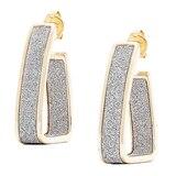 Silver Spectrum Sterling Silver 18K Yellow Gold Plate Glitter J Hoop Earrings