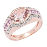 Morganite Gems 14K Rose Gold 1.30 ctw Morganite & Pink Sapphire Ring