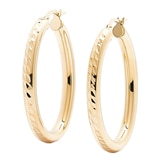Bronzoro Italia Oval Diamond Cut Hoop Earrings