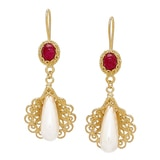 Ottoman Silver Sterling Silver Yellow Gold Plate Pearl & Gemstone Drop Earrings