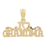 Breloque en or jaune 10 ct avec l'inscription « I love Grandma » de International Gold