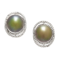 Imperial Pearls Sterling Silver Black Tahitian Pearls & White Topaz Earrings