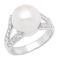 Bague parée de topazes blanches et d'une perle d'eau douce sur argent sterling de Imperial Pearls