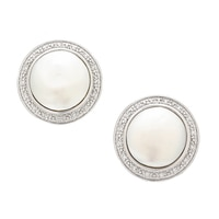 Imperial Pearls Sterling Silver Coin Freshwater Pearl & White Topaz Earrings