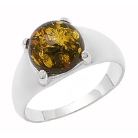 Amber Extraordinaire Sterling Silver Cabochon Ring