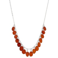 Amber Extraordinaire Sterling Silver Drop Necklace