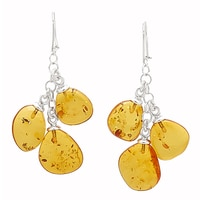 Amber Extraordinaire Sterling Silver Jurassic Drop Earrings