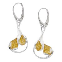 Amber Extraordinaire Sterling Silver Calla Lily Earrings
