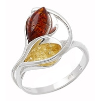 Amber Extraordinaire Sterling Silver Calla Lily Ring