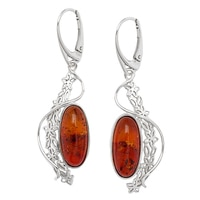 Amber Extraordinaire Sterling Silver Gossamer Large Earrings