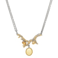 Amber Extraordinaire Sterling Silver & 14K Yellow Gold Plated Branch Gemstone Pendant with Chain