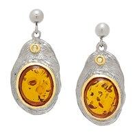 Boucles d'oreille en argent sterling plaqué or jaune 14 ct de Amber Extraordinaire