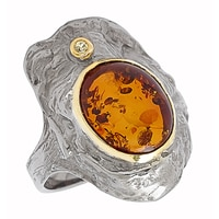 Amber Extraordinaire Sterling Silver & Yellow Gold Plated Branch Stem Ring