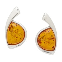 Amber Extraordinaire Sterling Silver Delta Earrings