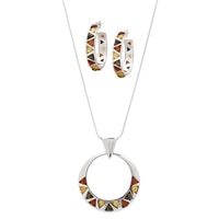 Amber Extraordinaire Sterling Silver Multi Colour Pendant & Earrings Set