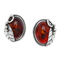 Amber Extraordinaire Sterling Silver Vine & Leaf Clip-on Earrings