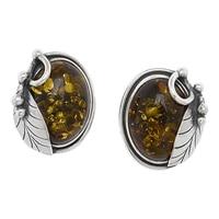 Amber Extraordinaire Sterling Silver Vine & Leaf Clip-on Earrings