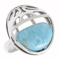 Amber Extraordinaire Sterling Silver Larimar Ring