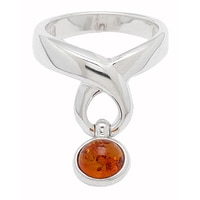 Amber Extraordinaire Sterling Silver Swirl & Swing Ring